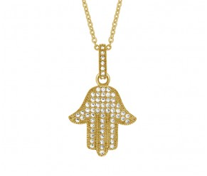 Hamsa Hand Pendant in Yellow Gold DIAMOND STYLE