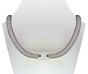 Crystal Mesh Necklace Black DIAMOND STYLE
