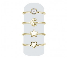 Midi Ring Set In 14k Gold Plating DIAMOND STYLE